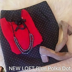 BRAND NEW LOFT skirt. Navy with white polka dots.